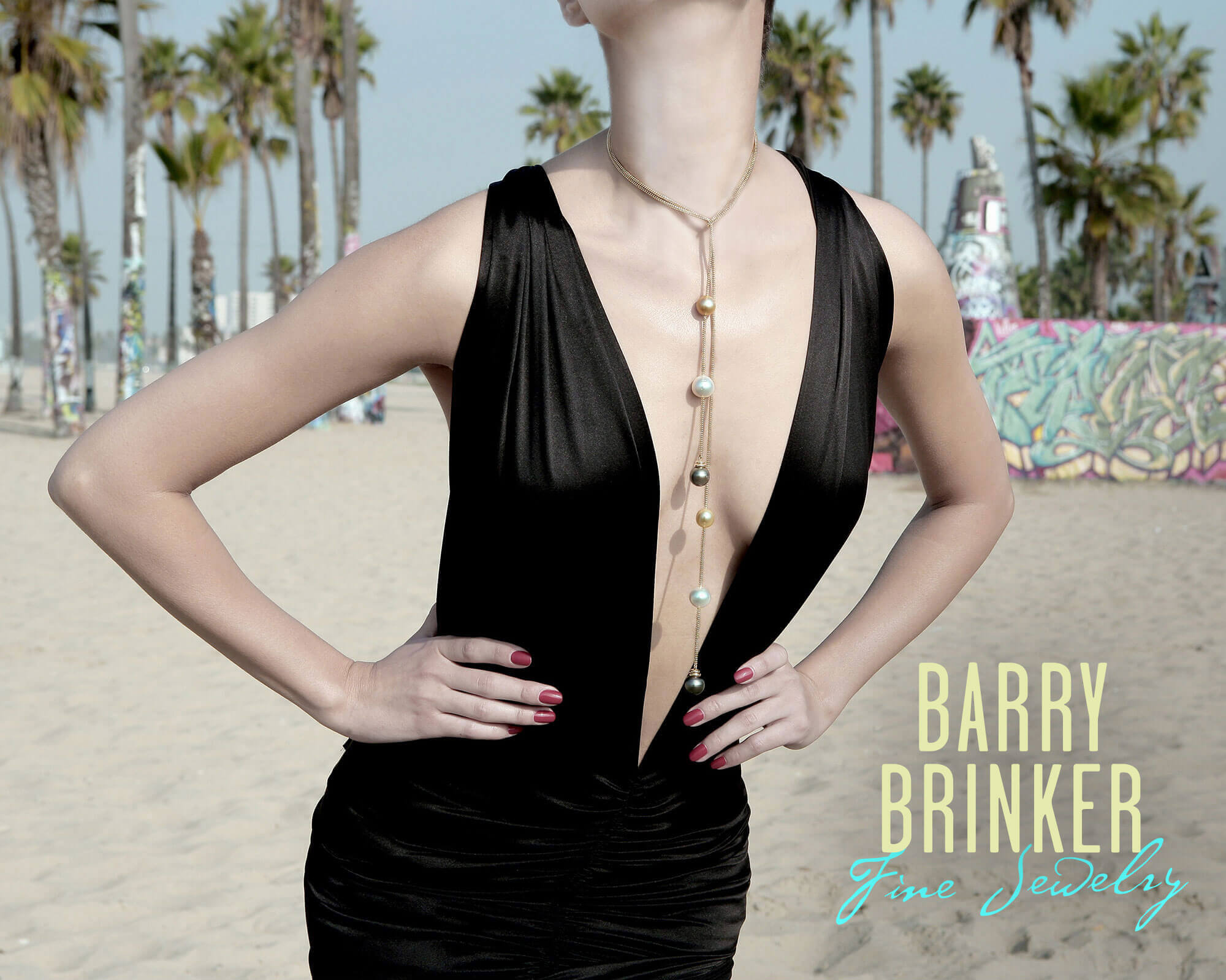 Photo of woman in Tahitian Pearl Lariat - (c) Barry Brinker Fine Jewelry
